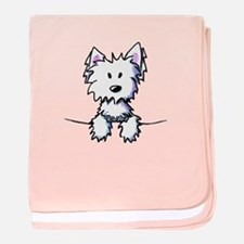 Pocket Westie Caricature baby blanket