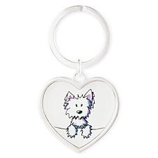 Pocket Westie Caricature Heart Keychain