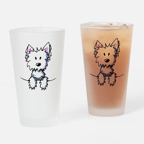 Pocket Westie Caricature Drinking Glass