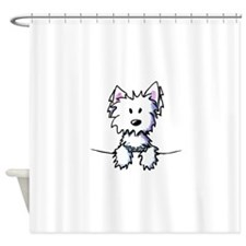 Pocket Westie Caricature Shower Curtain