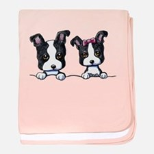 KiniArt Boston Terrier baby blanket