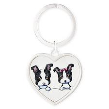 KiniArt Boston Terrier Heart Keychain