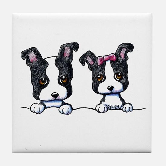KiniArt Boston Terrier Tile Coaster