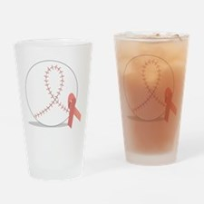 Baseball for Breast Cancer Drinking Glass