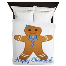 Chanukah Gingerbread Man Queen Duvet