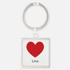 Lina Big Heart Square Keychain