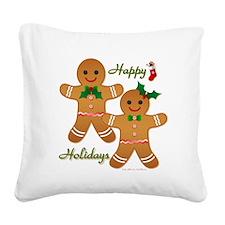 Gingerbread Man - Boy Girl Square Canvas Pillow