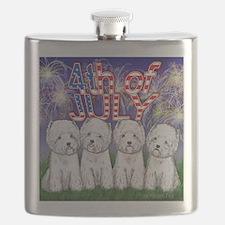 4th of July Westies Flask