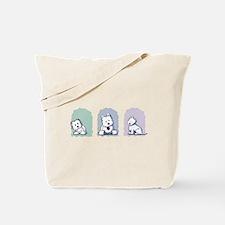 Pastel Westie Trio Tote Bag