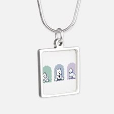 Pastel Westie Trio Silver Square Necklace
