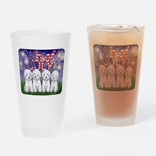 4th of July Westies Drinking Glass