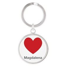 Magdalena Big Heart Round Keychain