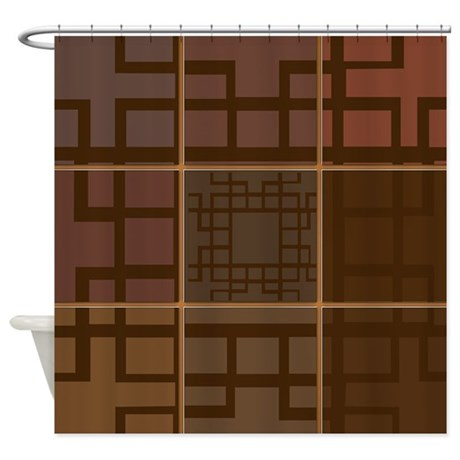Brown Patchwork Geometric Pattern Shower Curtain By