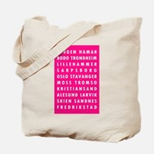 H Pink Norway Cities Tote Bag