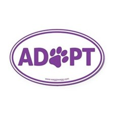 ADOPT with a Paw Oval Car Magnet