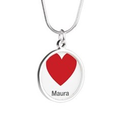 Maura Big Heart Silver Round Necklace
