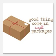 """Small Packages Square Car Magnet 3"""" x 3"""""""