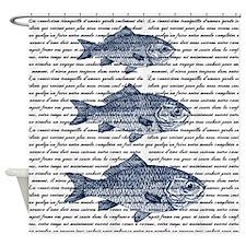 Vintage Fish Trio Shower Curtain