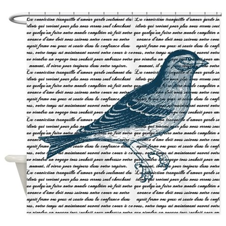 Vintage Blue Bird Shower Curtain
