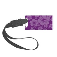Purple Hibiscus Hawaiian Print Luggage Tag