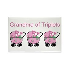 Grandma of Triplets (Girls) Rectangle Magnet (10 p