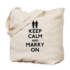 Lesbian Keep Calm and Marry On Tote Bag