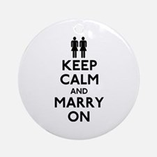 Lesbian Keep Calm and Marry On Ornament (Round)