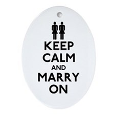 Lesbian Keep Calm and Marry On Ornament (Oval)
