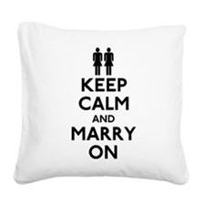 Lesbian Keep Calm and Marry On Square Canvas Pillo