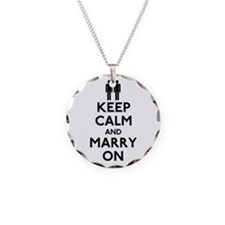 Gay Keep Calm and Marry On Necklace