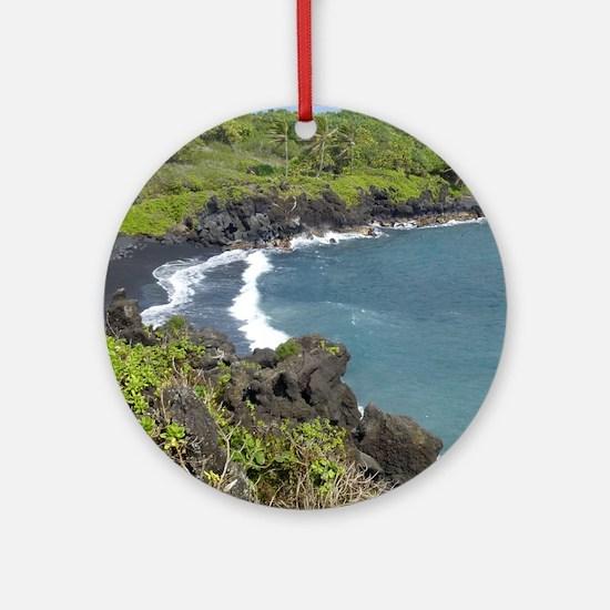 Black Sand Beach Maui Ornament (Round)