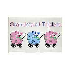 Grandma of Triplets (Girls & Boy) Rectangle Magnet