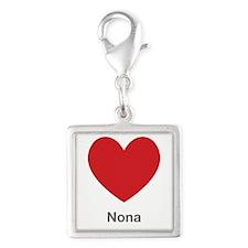 Nona Big Heart Silver Square Charm