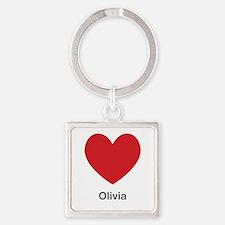 Olivia Big Heart Square Keychain