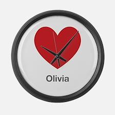 Olivia Big Heart Large Wall Clock