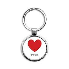 Paula Big Heart Round Keychain