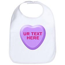 Grape Candy Heart Personalized Bib