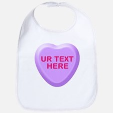 Grape Candy Heart Personalized Bib