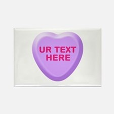 Grape Candy Heart Personalized Rectangle Magnet (1
