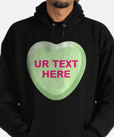Lime Candy Heart Personalized Hoodie (dark)