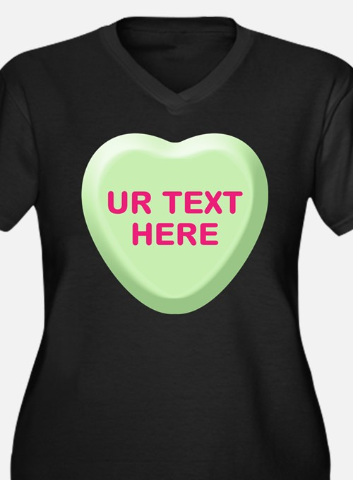 Lime Candy Heart Personalized Women's Plus Size V-