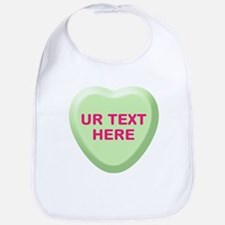 Lime Candy Heart Personalized Bib