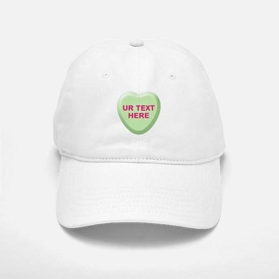 Lime Candy Heart Personalized Baseball Baseball Cap