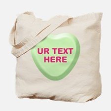 Lime Candy Heart Personalized Tote Bag