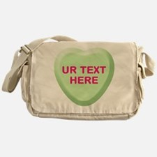 Lime Candy Heart Personalized Messenger Bag
