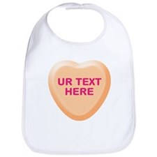 Orange Candy Heart Personalized Bib