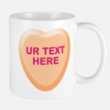 Orange Candy Heart Personalized Mug
