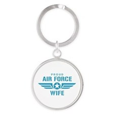Proud Air Force Wife W Round Keychain