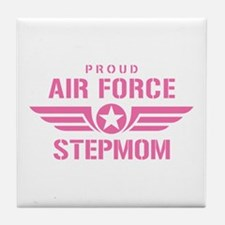 Proud Air Force Stepmom W [pink] Tile Coaster
