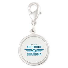 Proud Air Force Grandma W Silver Round Charm